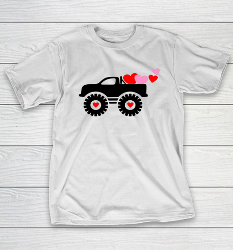 Valentine Monster Truck Loads of Love Hearts Shirt Gift T-Shirt