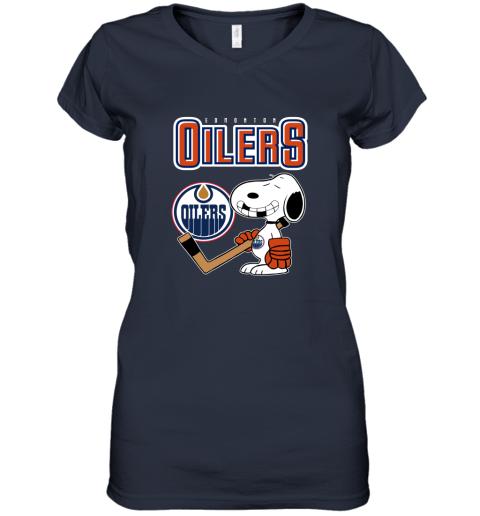 vmly edmonton oilers ice hockey broken teeth snoopy nhl shirt women v neck t shirt 39 front navy