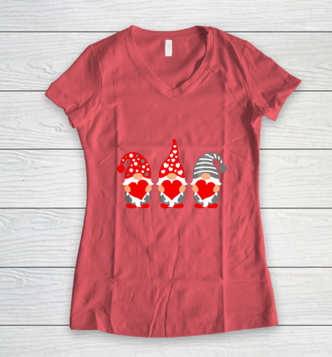 Gnomes Hearts Valentine Day Shirts For Couple Women's V-Neck T-Shirt 4