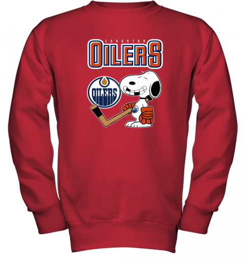 e2k4 edmonton oilers ice hockey broken teeth snoopy nhl shirt youth sweatshirt 47 front red