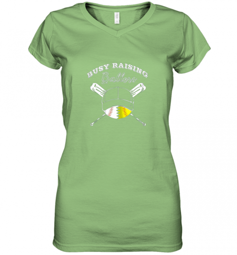 32fr busy raising ballers softball baseball mom funny gift women v neck t shirt 39 front lime