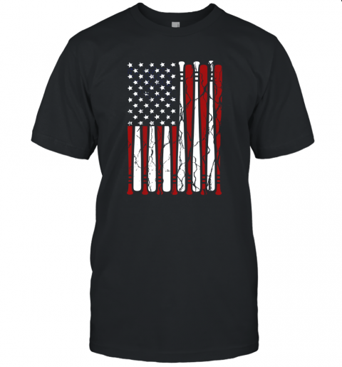 Vintage American Flag Baseball Men Boys Apparel Dad 4th July Unisex Jersey Tee