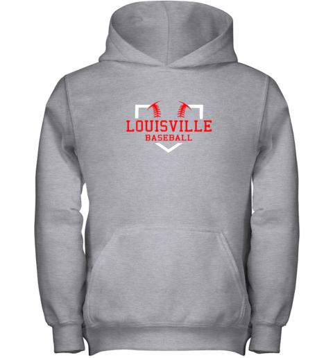 39r5 vintage louisville baseball kentucky gift youth hoodie 43 front sport grey