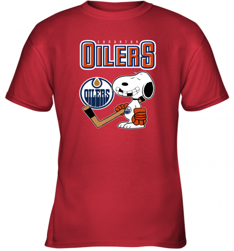 qyzy edmonton oilers ice hockey broken teeth snoopy nhl shirt youth t shirt 26 front red