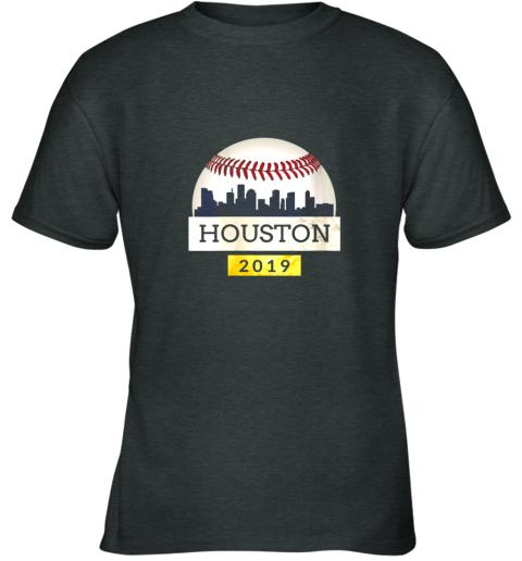qxlf houston baseball shirt 2019 astro skyline on giant ball youth t shirt 26 front dark heather