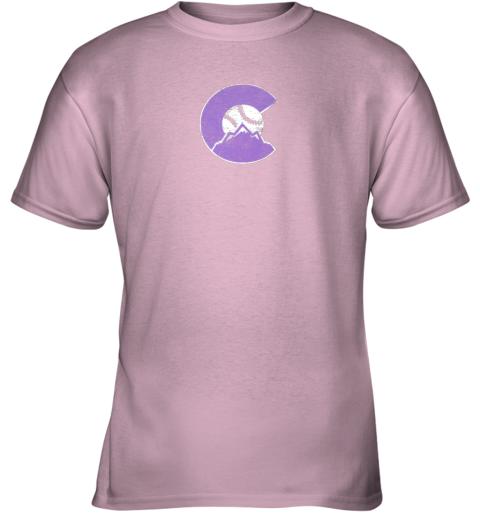 u72s colorado rocky mountain baseball sports team youth t shirt 26 front light pink