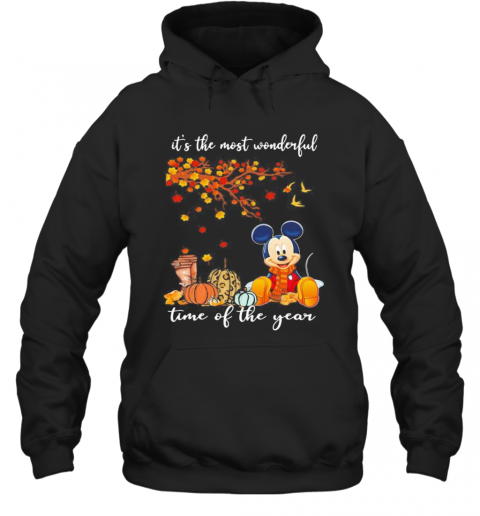 Mickey Mouse It'S The Most Wonderful Time Of The Year Leaves Tree Hoodie