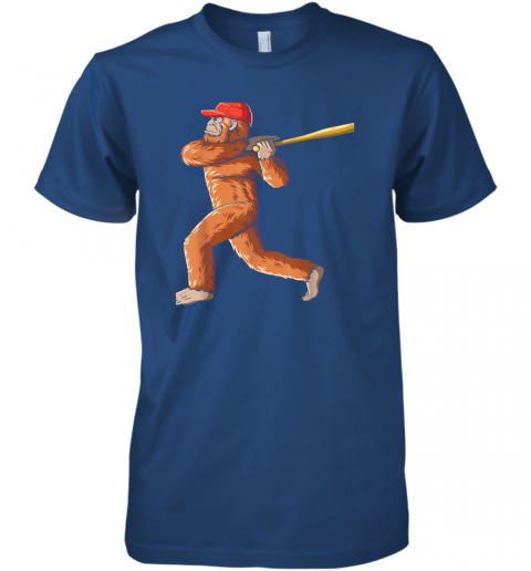 jslr bigfoot baseball sasquatch playing baseball player premium guys tee 5 front royal