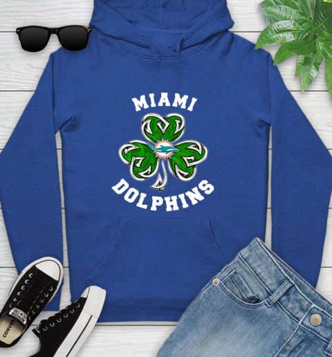 NFL Miami Dolphins Three Leaf Clover St Patrick's Day Football Sports Youth Hoodie 11