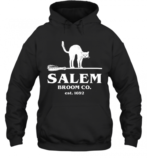 Salem Broom Co Company Halloween Black Cat Witch and Broom Hoodie