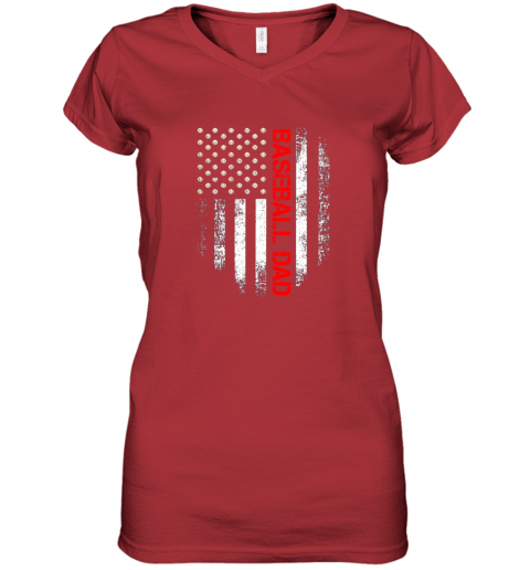 ptfp vintage usa american flag proud baseball dad player women v neck t shirt 39 front red