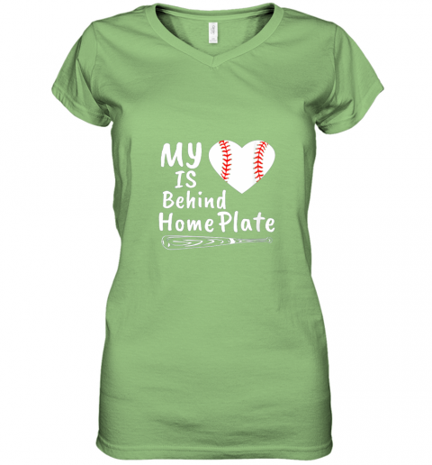 nfyv womens my heart is behind home plate baseball bat mom dad gift women v neck t shirt 39 front lime