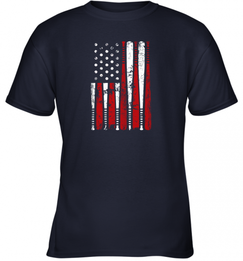 k68p vintage baseball bat american usa flag gift youth t shirt 26 front navy