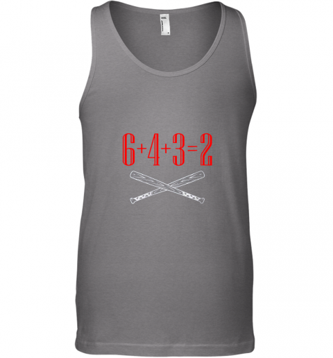 i4ja funny baseball math 6 plus 4 plus 3 equals 2 double play unisex tank 17 front graphite heather