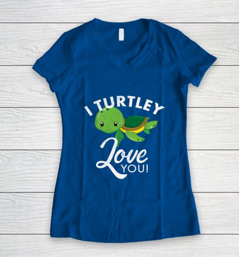 Cute Valentines Turtle I Turtley Love You Valentine Gift Women's V-Neck T-Shirt 7