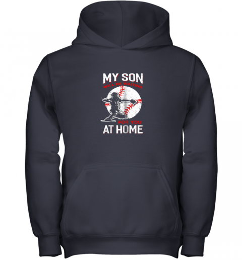 osfn my son will be waiting for you at home baseball dad mom youth hoodie 43 front navy