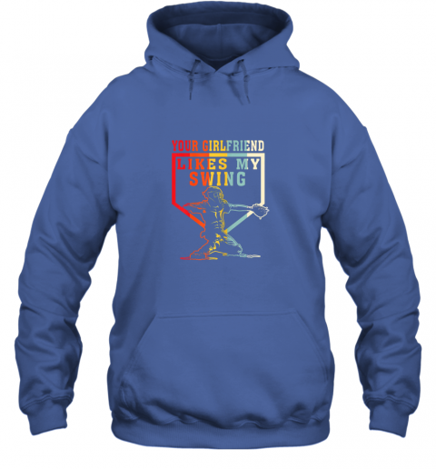 xe2m baseball your girlfriend likes my swing gift hoodie 23 front royal