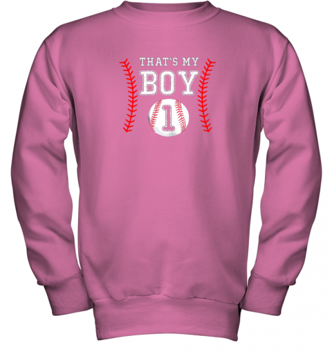 a3xr that39 s my boy baseball 1 year old dad mom youth sweatshirt 47 front safety pink