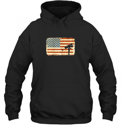 Vintage Baseball Pitcher Shirt American Flag Hoodie