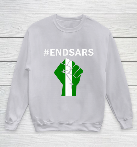 EndSARS End SARS Nigeria Flag Colors Strong Fist Protest Youth Sweatshirt 3