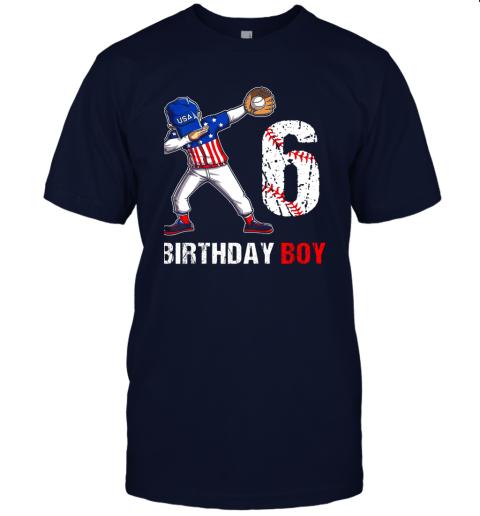 sstz kids 6 years old 6th birthday baseball dabbing shirt gift party jersey t shirt 60 front navy