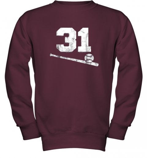 84sk vintage baseball jersey number 31 shirt player number youth sweatshirt 47 front maroon