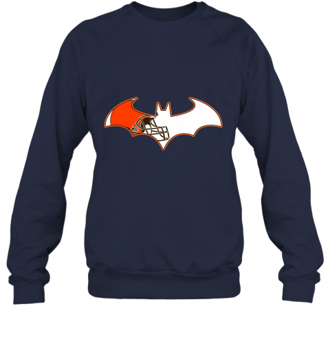 qunl we are the cleveland browns batman nfl mashup sweatshirt 35 front navy