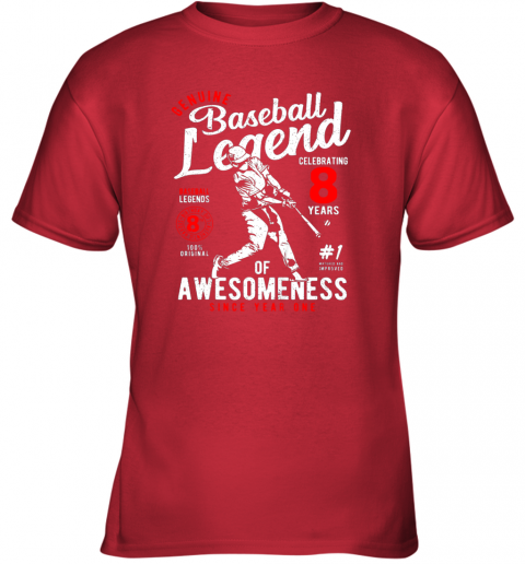 rgm8 kids 8th birthday gift baseball legend 8 years youth t shirt 26 front red