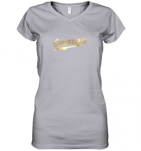 q2tw savage shirt retro 1970s baseball script font women v neck t shirt 39 front sport grey