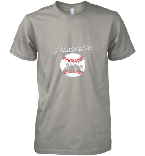 pttx philadelphia baseball philly tshirt ball and skyline design premium guys tee 5 front light grey