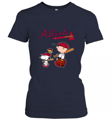 6uu6 atlanta braves lets play baseball together snoopy mlb shirt ladies t shirt 20 front navy