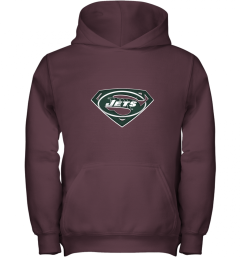 9ztr we are undefeatable the new york jets x superman nfl youth hoodie 43 front maroon