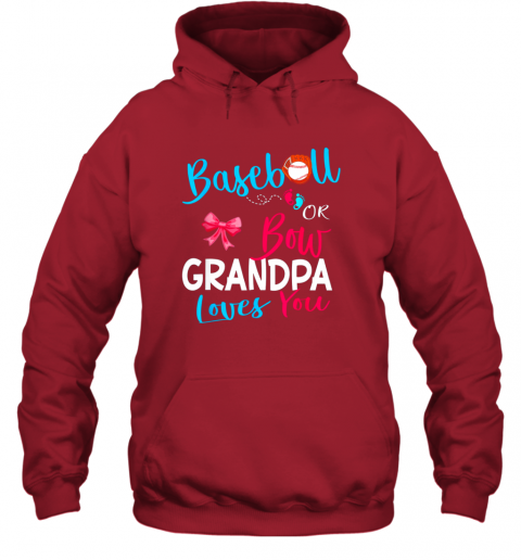 nndr mens baseball or bow grandpa loves you gender reveal team gift hoodie 23 front red