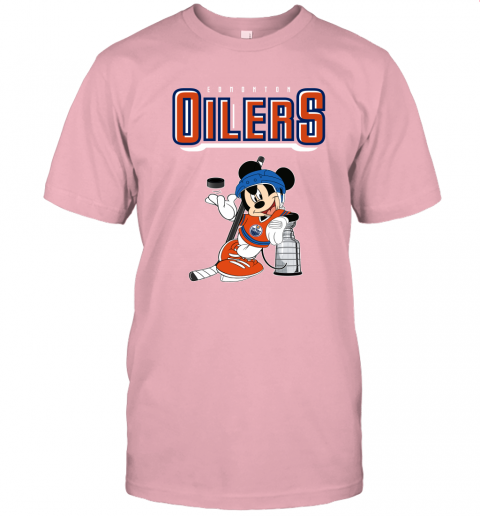 77lk mickey edmonton oilers with the stanley cup hockey nhl shirt jersey t shirt 60 front pink