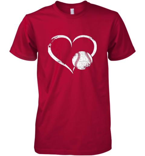 x8y1 i love baseballl funny baseball lover heartbeat premium guys tee 5 front red