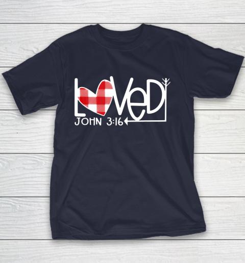 John 3 16 Loved Valentine Heart Youth T-Shirt 2