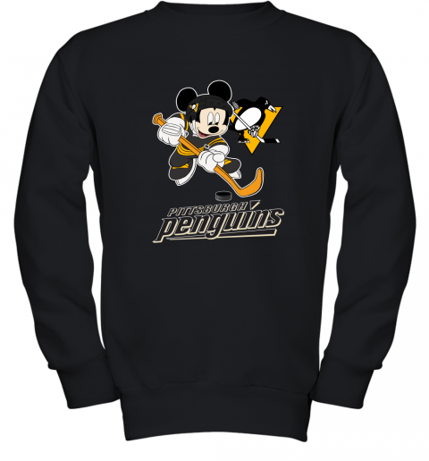 ovon nhl hockey mickey mouse team pittsburgh penguins youth sweatshirt 47 front black