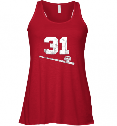dxn9 vintage baseball jersey number 31 shirt player number flowy tank 32 front red