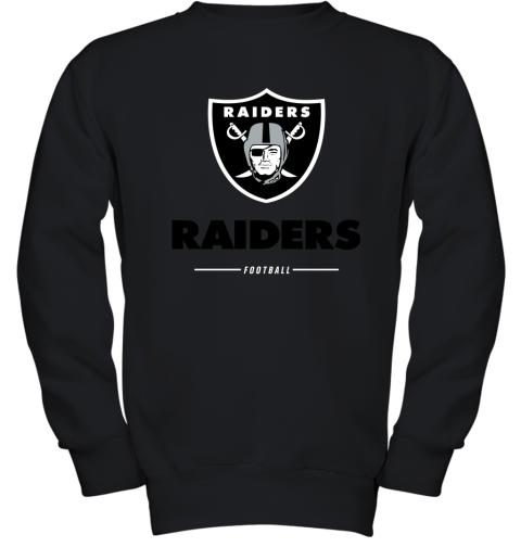 g3kk oakland raiders nfl pro line black team lockup youth sweatshirt 47 front black
