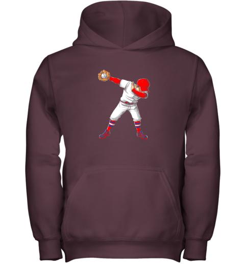 kpci dabbing baseball t shirt funny dab dance shirts boys girls youth hoodie 43 front maroon