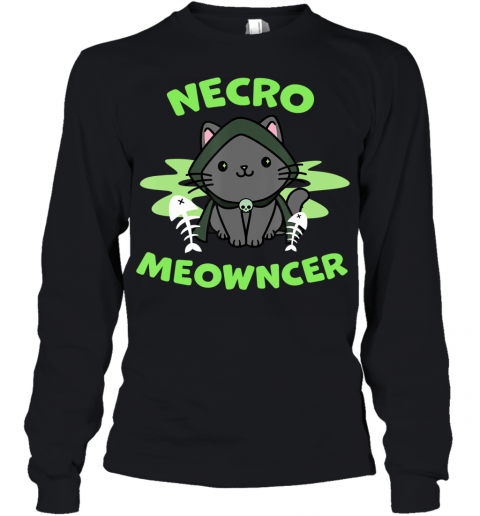 Necromeowncer  Necromancer Cat Tabletop RPG Halloween Youth Long Sleeve