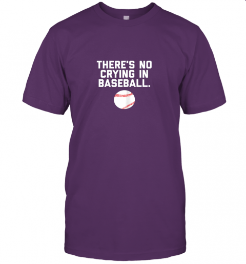 l424 there39 s no crying in baseball funny baseball sayings jersey t shirt 60 front team purple