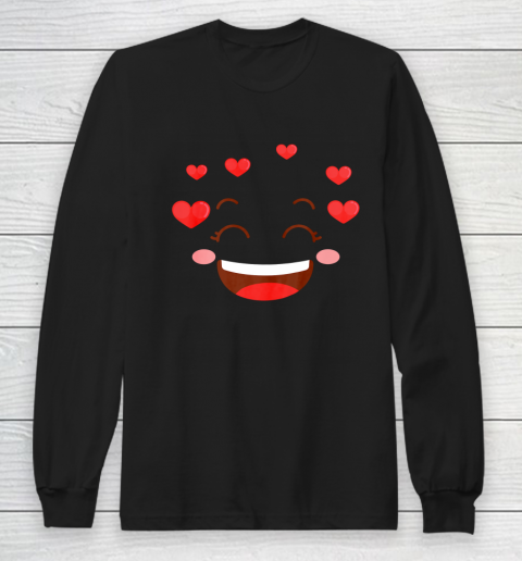 Kids Girls Valentine T Shirt Many Hearts Emoji Design Long Sleeve T-Shirt