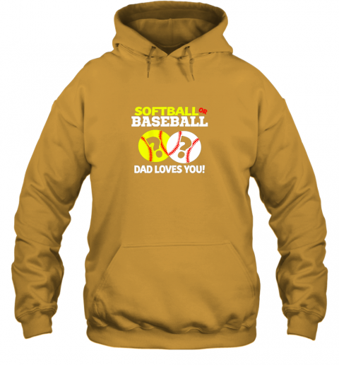 4j40 softball or baseball dad loves you gender reveal hoodie 23 front gold