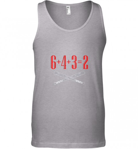 i4ja funny baseball math 6 plus 4 plus 3 equals 2 double play unisex tank 17 front sport grey