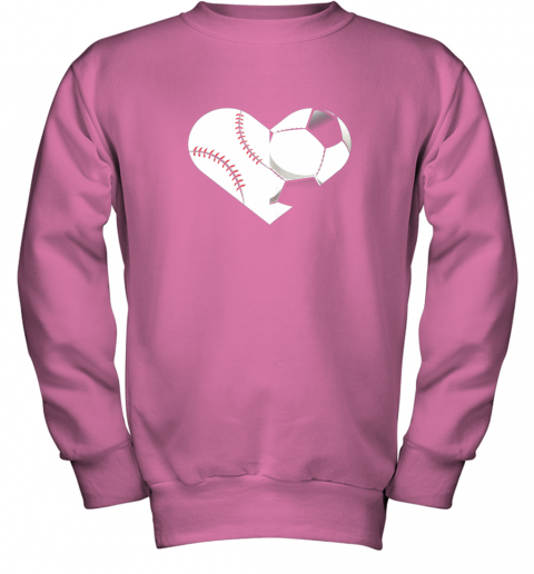 mvfz soccer baseball heart sports tee baseball soccer youth sweatshirt 47 front safety pink