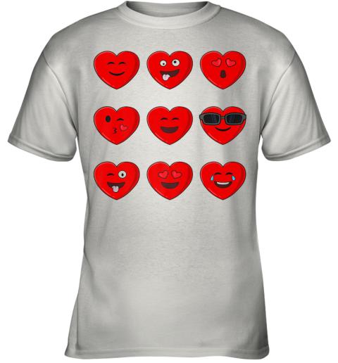 Heart Emojis Valentine's Day Funny Emoticons Boys Girls Kids Youth T-Shirt