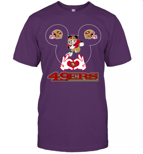 uv6n i love the 49ers mickey mouse san francisco 49ers jersey t shirt 60 front team purple
