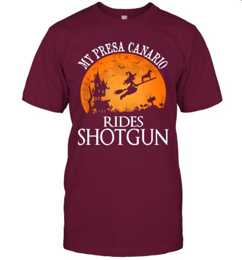 Presa Canario Rides Shotgun Dog Lover Halloween Party Gift T-Shirt
