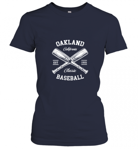 axv4 oakland baseball classic vintage california retro fans gift ladies t shirt 20 front navy